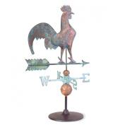 Weathervane Verdigris Copper Rooster On Garden Base | Renovator's Supply