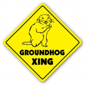 GROUNDHOG CROSSING Sign xing gift novelty ground hog day puxatawny phil