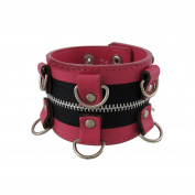 Pink Leather Wristband with D-Rings and Zipper