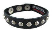 Black Leather Single Row Round Stud Wristband