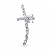 Bling Jewellery Stainless Steel Cartilage Crystal Cross Ear Cuff Earring Left Ear