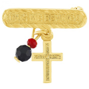Gold Plated 18k Cross Crucifix Simulated Azabache Charm Evil Eye Jewellery Brooch Pin