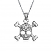 Bling Jewellery Pave CZ 925 Sterling Silver Skull and Crossbone Pendant