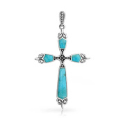 Bling Jewellery 925 Sterling Silver Fleur De Lis Simulated Turquoise Cross Pendant Necklace