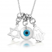 Bling Jewellery Sterling Silver Hamsa Hand Evil Eye Star Of David Charms Necklace