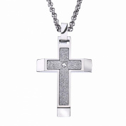 Men's Textured Stainless Steel Cross Pendant