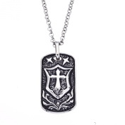 Men's Antique Cross Dog Tag Pendant in Stainless Steel