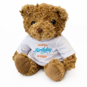 NEW - HAPPY BIRTHDAY AVERY - Teddy Bear - Cute And Cuddly - Gift Present
