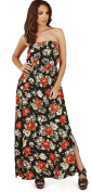 Pretty Ladies Rose Print Lightweight Strapless Bandeau Maxi Dress, Black/Red