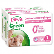 Love & Green Layers Hypoallergenic Birth T1 X 23 Nappies - Pack of 2