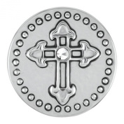 Ginger Snaps Petite Metal Cross with Clear Stone Snap GP03-01