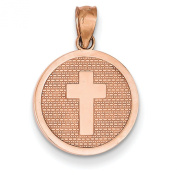 14k Rose Gold Reversible Cross and God Bless Charm - JewelryWeb