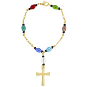 Gold Tone Multicolor Beaded Cross Crucifix Rosary Religious Lady Bracelet 19cm