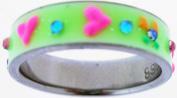 Green UV Glow Heart Motif Ring in Stainless Steel