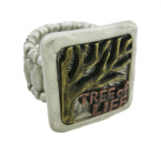 Tri-Tone Pewter TREE OF LIFE Stretch Ring