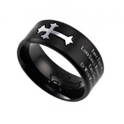 Spirit And Truth Jewellery 112939 Neo Cross-Black Band-Strength Mens Ring, Size 8