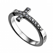 Spirit And Truth Jewellery 112913 Ring-Sideways Cross-Christ My Strength - Size 9