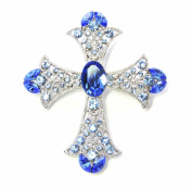 Crucifix Cross Pin Brooch Sapphire Colour Blue Rhinestone Crystal