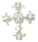 Cross Crucifix Pin Brooch Big Pendant Clear Rhinestone Crystal