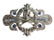 Blue Rhinestone Crystal Pirate Crossbones Barrette For Halloween Q334