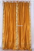 Mustard Tie Top Sheer Sari Curtain / Drape / Panel - 43W x 84L - Piece