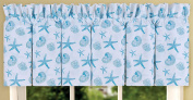 Coastal Coral Blue Teal and White Print Cotton 200cm x 38cm Valance