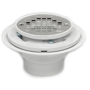 Oatey 42213 PVC Drain with Stainless Steel Strainer for Tile Shower Bases, 2-...