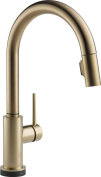 Delta Kitchen Trinsic Single-Handle Pull-Down Sprayer Kitchen Faucet Featuring Touch2O Technology in Champagne Bronze 9159T-CZ-DST