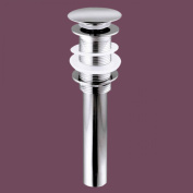 Brass Pop-Up Drain And Mount Ring Chrome Plated Push-Button Tarnish Resistant No Overflow