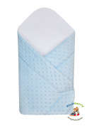 BlueberryShop Dot Popcorn Minky Cuddle Soft Fleece Cotton Swaddle Wrap, Blanket, Sleeping Bag for Newborn ( 0-3m ) ( 75 x 80 cm ) Blue