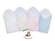 BlueberryShop Dot Popcorn Minky Cuddle Soft Fleece Cotton Swaddle Wrap, Blanket, Sleeping Bag for Newborn ( 0-3m ) ( 75 x 80 cm ) White
