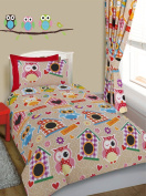 Owls print Toddler Bed / Cot Bed Duvet Cover & Pillowcase Bedding Set
