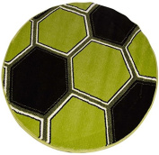 Green Football Glow in The Dark, Circular Rug 100 x 100 cm
