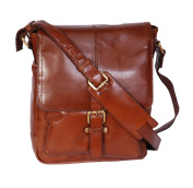 Mens Real Leather Cross body Messenger Bag A224 Chessnut Ipad pocket Satchel