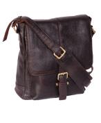 Mens Real Leather Cross body Messenger Bag A224 Brown Ipad pocket Satchel