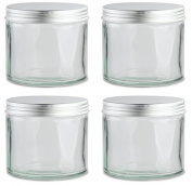 Pack of 4 x Clear Glass Jar with Silver Aluminium Lid, 250ml.