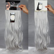 S-noilite 24 Inches (60cm) Full Head Clip in Hair Extensions Wavy Curly 8 Pcs Silver Grey