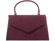 Burgundy Grab Bag, Faux Suede Wine Coloured Evening Bag, Small Envelope Top Handle Handbag, Ladies Claret Red Bag