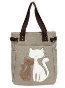Baymate Women Canvas Tote Bags Cute Cat Casual Handbag