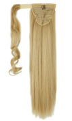 "S-noilite 26""(66cm) Straight Ponytail clip in Hair Extensions Ash Blonde mix Bleach Blonde Wrap Around Ponytail"