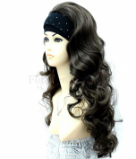 Forever Young X-Long Dark Brown Number 4 Ladies Curly Style Half Wig