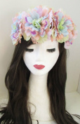 Large Pastel Rose Flower Headband Festival Oversized Hair Crown Elasticated X-46 *EXCLUSIVELY SOLD BY STARCROSSED BEAUTY*