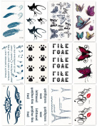 Bbei Temporary Tattoo Stickers Body Art, Most Fashionable Designs, 12 Sheets in One Pack, Cat, Butterfly, Paw, Feather, etc.