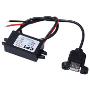 HimanJie Waterproof Car Power Converter DC12V to 5V 3A 15W Step Down Power Supply Voltage Module with Female USB Interface