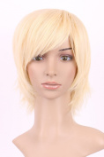 S-noilite® Beauty Smooth Hair Short Wig Kanekalon Straight Layer Wavy Hair Bleach Blonde Full Wig for Women Free Wig Cap