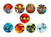 30 x Ninjago CupCake Toppers Edible Rice Paper 3.8cm image 1