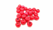 tanglz Pack of 50 Wooden Beads, Red Beads, 6 mm