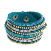 ZiZi Turquoise ~ Crystal & Faux Leather Bracelet Wrap Bangle Wristband Cuff