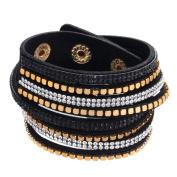 ZiZi Black ~ Crystal & Faux Leather Bracelet Wrap Bangle Wristband Cuff
