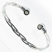 Silver Coated Copper Core Magnetic Bracelet Bangle For Arthritis Pain Relief